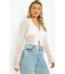 dobby mesh blouse met ruches, white
