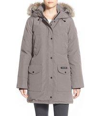 women's canada goose trillium regular fit down parka with genuine coyote fur trim, size medium (8-10) - grey