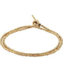 18k matte yellow gold binary two wrap bracelet