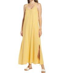 women's caslon textured cotton sleeveless maxi dress, size xx-small - yellow