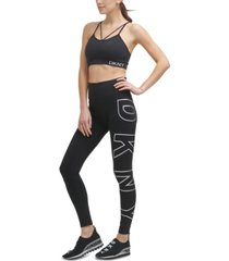 dkny sport logo high-waist 7/8 length leggings