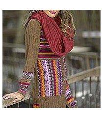 100% alpaca cardigan, 'patchwork in chestnut' (peru)