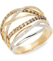 14k white & yellow gold multi-strand diamond ring