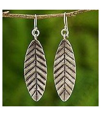 silver dangle earrings, 'summer leaves' (thailand)