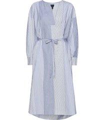 d1. mix stripe kaftan dress jurk knielengte blauw gant