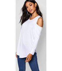 long sleeve cold shoulder top, white