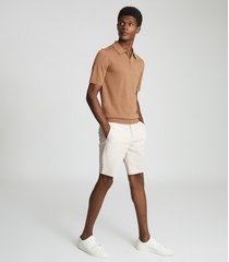 reiss wicket - casual chino shorts in chalk, mens, size 38