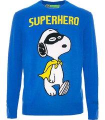 mc2 saint barth blue man sweater snoopy superhero print - special edition
