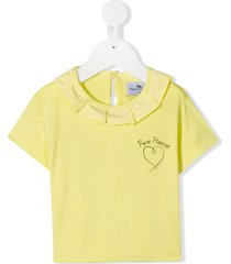 raspberry plum dita ruffle trim t-shirt - yellow