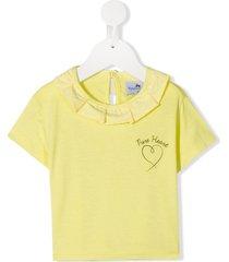raspberry plum dita ruffle trim t-shirt - yellow