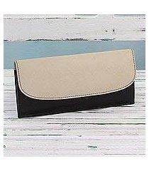 leather wallet, 'sleek beauty in black' (india)