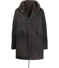 herno drawstring hooded coat - brown