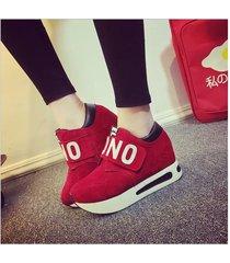 zapatos tenis casual plataforma mujer -rojo