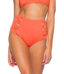 women's soluna clear skies eclipse high waist bikini bottom, size small - orange