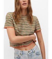 mango tweed contrasting t-shirt