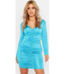 plus ruched plunge bodycon dress, turquoise
