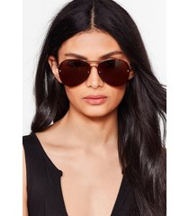 womens see how it goes tinted aviator sunglasses - gold
