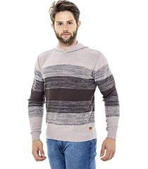 suéter katze com capuz blocos degradê marrom - kanui