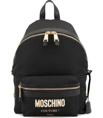 moschino patent coated canvas backpack