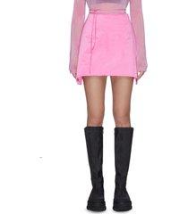 string waist tie asymmetric hem satin mini skirt