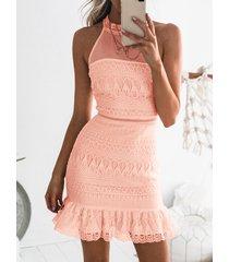 pink gorgeous lace see-through sleeveless mini dress
