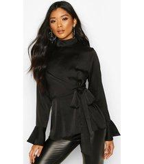 satin high neck wrap frill sleeve blouse, black