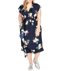 plus floral wrapped midi dress