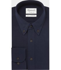 michaelis donker knitted shirt button down blauw