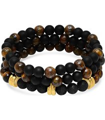 anthony jacobs men's 3-piece 18k goldplated stainless steel beaded bracelet set