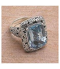 blue topaz cocktail ring, 'water temple' (indonesia)