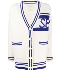 sandro paris varsity knitted cardigan - neutrals