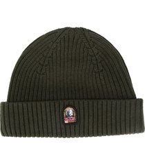parajumpers logo patch ribbed beanie - green