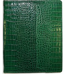 graphic image croc-embossed leather ipad case - bottle green