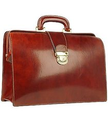 forzieri designer doctor bags, cognac italian leather buckled medium doctor bag