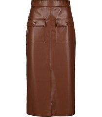 msgm brown faux leather skirt