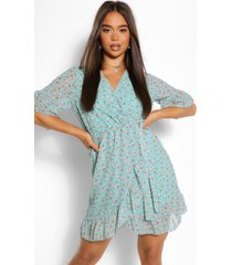 floral wrap mini dress, mint