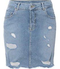 gonna di jeans effetto sdrucito in cotone biologico (blu) - rainbow