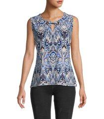tommy hilfiger women's grommet-trim print top - blue combo - size m