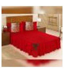kit colcha casal padrão vermelho matelada com babado 5 peças