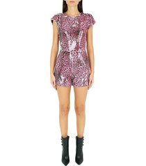 short jumpsuit with animalier motif