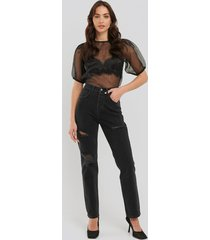 na-kd trend distressed high waist straight jeans - grey