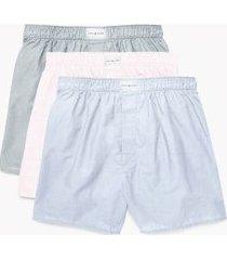 tommy hilfiger men's cotton classics woven boxer 3pk chambray/light pink/light grey - xl