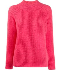 peserico funnel neck ribbed knit sweater - pink