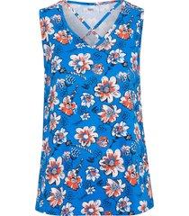 top in cotone fantasia con scollo decorato (blu) - bpc bonprix collection