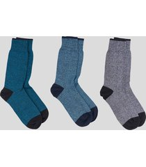 tripack calcetines algodón basicos azul baziani