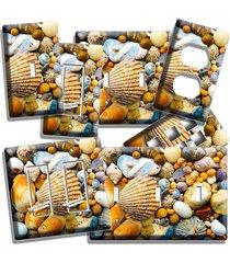 sea shells beach stones light switch wall plate outlet bathroom summer house art