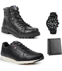 coturno masculino + sapatênis leve + carteira + relógio - masculino