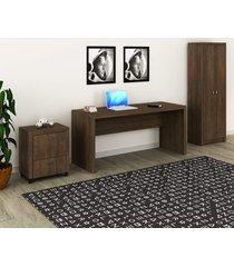 conjunto de escritório com mesa, armário alto e gaveteiro 03 rústico dallas - tricae