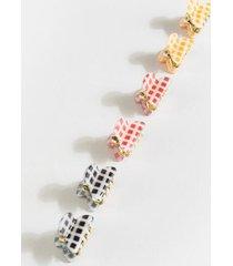 sasha gingham mini hair clip set - multi