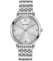 bulova women's diamond dress diamond-accent stainless steel bracelet watch 31mm